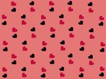 Valentinbakgrund med härliga svarta och rosa hjärtor i vektor vektor illustrationer