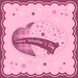 Valentinbakgrund med hjärtor och blommor inom Arkivfoton