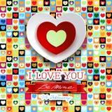 Valentinbakgrund med hjärtor och meddelandet vektor illustrationer