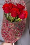 Valentindag eller förslag Ung lycklig stilig man som rymmer den stora gruppen av röda rosor i hans hand på grå bakgrund royaltyfri fotografi