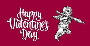 Valentindag och ängel med en granatlauncher Tappningbokstäver Vektorillustrationer och typografibeståndsdelar Röd bakgrund Royaltyfri Fotografi