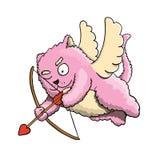 Valentindag, rosa katt för valentinkupidon som flyger på vingarna av förälskelse som siktar på hjärta för vän` s med kupidonpilen Arkivbilder