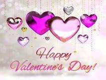 Valentindag van het kaarthart Stock Afbeelding