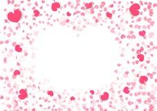 Valentindagbakgrund, hjärtaformram, garnering för papper för pappers- konstkonfettier fallande av den abstrakta illustrationen fö royaltyfri illustrationer