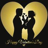 Valentindagbakgrund med en parkontur som delar exponeringsglas stock illustrationer