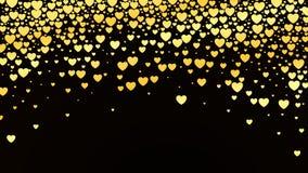 Valentindagbakgrund med glansiga guld- hjärtor på mörker också vektor för coreldrawillustration stock illustrationer