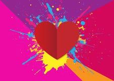Valentindagbakgrund med hjärta och plaskar Vektorillu Arkivfoton