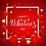 Valentindagbakgrund med hjärtavektorillustrationen med Arkivfoto