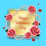 Valentindagbakgrund med rosor, hjärtor och pärlor Arkivfoto