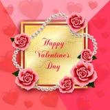 Valentindagbakgrund med rosor, hjärtor och pärlor Wallpap Arkivfoto