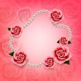 Valentindagbakgrund med rosor och pärlor wallpaper Reklamblad Arkivbild