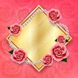 Valentindagbakgrund med rosor och pärlor wallpaper Reklamblad Arkivbilder