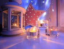 Valentindagbakgrund med stearinljus Royaltyfri Foto