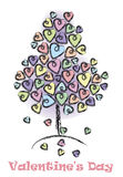 Valentindagbakgrund med träd-förälskelse Royaltyfri Bild