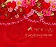 Valentindagbaner med ljusa kulor festlig girland och hjärta royaltyfri illustrationer