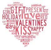 Valentindagbegrepp i ordetikettsmoln royaltyfri illustrationer