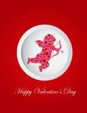 Valentindagcupiden pricker hälsningskortet Arkivfoton