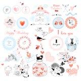 Valentindagen och dagen av bröllopet ställde in royaltyfri illustrationer
