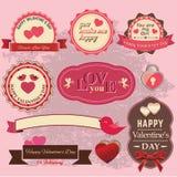 Valentindagetikett Vektor Illustrationer