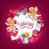 Valentindaggåvor, förälskelsehjärtor och vigselring stock illustrationer