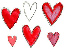 Valentindaghjärtor ställde in den uttrycksfulla handen dragen Royaltyfria Foton