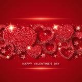Valentindaghorisontalbakgrund med att skina röd hjärta, stjärnor, bollar och konfettier Feriekortillustration på rött vektor illustrationer