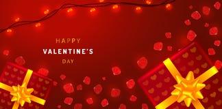Valentindaghorisontalbaner med rosa kronblad, gåvaaskar och girlander Illustration för hälsningkort på röd bakgrund royaltyfri illustrationer