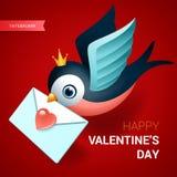 Valentindagillustration Fågeln med förälskelse märker Stock Illustrationer