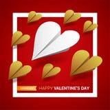 Valentindagillustration Grupp av pappersnivåer som formas av hea Stock Illustrationer