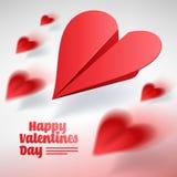 Valentindagillustration Grupp av röda pappers- nivåer Förälskelsemes Stock Illustrationer