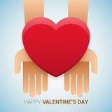 Valentindagillustration Händer som rymmer hjärtatecknet Vektor Illustrationer