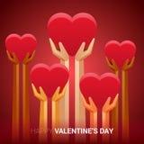 Valentindagillustration Händer som rymmer hjärtatecknet Royaltyfri Illustrationer