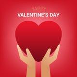 Valentindagillustration Händer som rymmer hjärtatecknet Stock Illustrationer