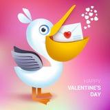 Valentindagillustration Hållande kuvert för pelikan med hjärta Royaltyfri Illustrationer