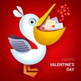 Valentindagillustration Hållande kuvert för pelikan med hjärta Stock Illustrationer