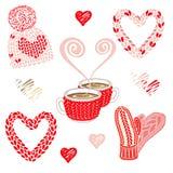 Valentindagillustration med varm stucken tillbehör: hatt med pompom, tumvanten och hårnäthalsduken Två kakao- eller kaffekoppar vektor illustrationer