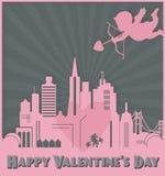 Valentindagkort Art San Francisco Skyline Cupid stock illustrationer