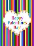 Valentindagkort med hjärta av kulöra blyertspennor Arkivbilder