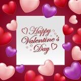 Valentindagkort med hjärtaballons med text royaltyfri illustrationer