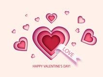 Valentindagkort med hjärtor Royaltyfria Bilder