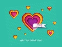 Valentindagkort med hjärtor Arkivbild