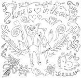 Valentindagkort med katter och hjärtor Royaltyfria Bilder