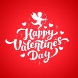 Valentindagkort med kupidonkonturn och hjärtor Lycklig valentin dagbokstäver 14th av det februari hälsningkortet Fotografering för Bildbyråer