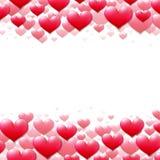 Valentindagkort med spridda purpurfärgade hjärtor vektor illustrationer