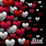 Valentindagkort med volymhjärtor som är röda och som är vita på svart bakgrund Februari 14 också vektor för coreldrawillustration Royaltyfri Bild