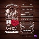 Valentindagkort och extra uppsättning av designbeståndsdelar arkivfoto