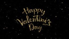 Valentindagord från guld- partiklar som bildades på en ferie, animerade bakgrund