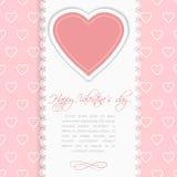 Valentindagtappning snör åt kortet med hjärta och förlägger för text Royaltyfri Foto
