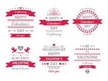 Valentindagtecken Tappningvalentinkort, retro etiketter för förälskelseparhjärtor och vektor för ram för förälskelseönskahjärta stock illustrationer
