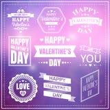 Valentindaguppsättning av etiketter, emblem och typografibeståndsdelar Royaltyfri Bild